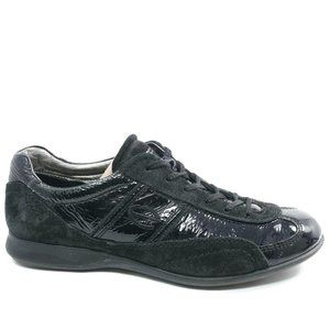 Ecco Womens Patent Leather Lace Up Flat Sneakers